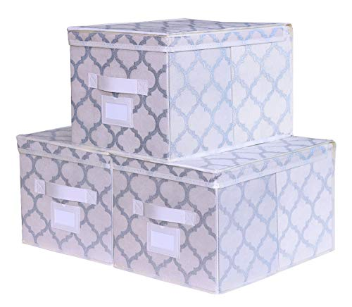 Onlyeasy Foldable Storage Bins Lids - Set of 3 Fabric Cubby Storage Organizer Cubes Boxes with Dual Leather Handles and Label Holders, 11.8x15.7x9.8, Large, Beige, 7MXELB03PLP