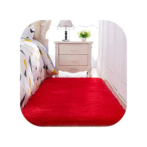 Thickened Washed Silk Hair Non-Slip Carpet Living Room Coffee Table Blanket Bedroom Bedside mat Rugs Solid Color Plush,13,100 x160cm