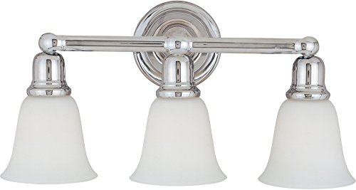 Bel Air Vanity Light - Maxim 11088WTPC Bel Air 3-Light Bath Vanity, Polished Chrome Finish, White Glass, MB Incandescent Incandescent Bulb, 60W Max, Dry Safety Rating, Standard Dimmable, Metal Shade Material, Rated Lumens