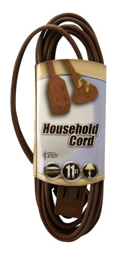 UPC 029892094096, Coleman Cable 09409 11-Foot Flatplug Extension Cord 2-Prong with Glowing Plug, Brown