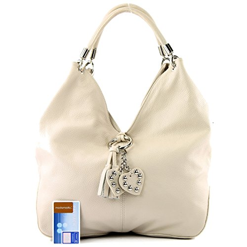 Bolso al para cuero Made de mujer Italy hombro Creme RwS5wq6x