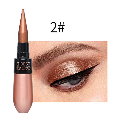 Joykith Eye Shadow QIBEST Double-end Metallic Shiny Smoky Eyes Eyeshadow Waterproof Glitter Liquid Black Eyeliner Glamour Dual-use Pen Silky Soft Eyeliner Soft Eye Shadow ()