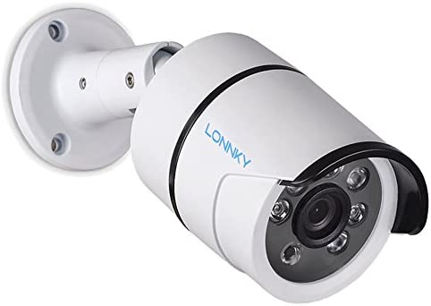 LONNKY Full HD 1080P Outdoor Security Bullet Camera,Waterproof Outdoor Indoor Surveillance Camera with IR Cut 3.6mm Lens Wide Angle, Motion Detection and Clear Night Vision Function, White