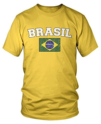 Amdesco Men's Flag of Brasil, Brazil Flag T-shirt, Yellow Medium