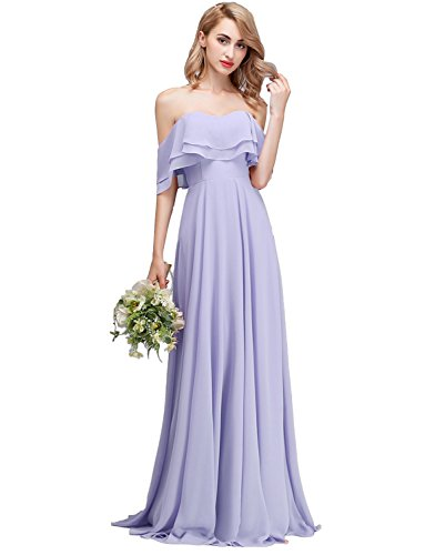CLOTHKNOW Strapless Chiffon Bridesmaid Dresses Long Purple with Shoulder Ruffles for Women Girls to Wedding Party Gowns