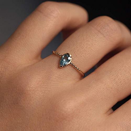 Aquamarine Solitaire Ring Aquamarine Ring 14K Solid Gold Ring, Teardrop Aquamarine Solitaire Ring, Minimalist Ring, 14k Aquamarine Band