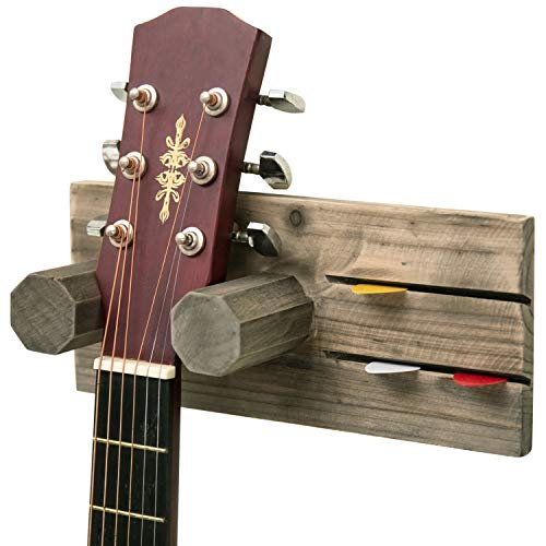 (MyGift Wall-Mounted Vintage Gray Wood Guitar Hanging Rack with Pick Holder)