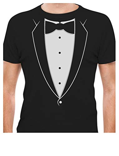 Printed Tuxedo with Bowtie Suit Funny T-Shirt Large Black