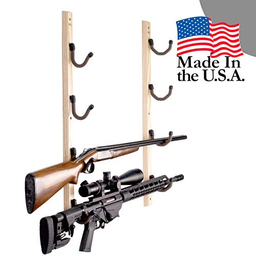 Hold Up Displays - Horizontal Hardwood Gun Rack Firearm Wall Storage for Shotgun and Rifle - USA Made