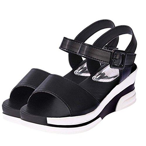 093d8521a3 Aksautoparts Moda Mujer Verano Hebilla Zapatillas Sandalias Romanas  Plataforma Flip Flops Negro. Zapatos; algodón; Nuevo ...