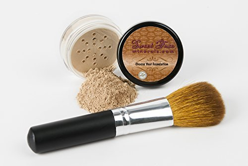 (2 Pc FOUNDATION with FACE BRUSH Kit Mineral Makeup Set Bare Skin Sheer Powder Cover (Light) by Sweet Face Minerals)