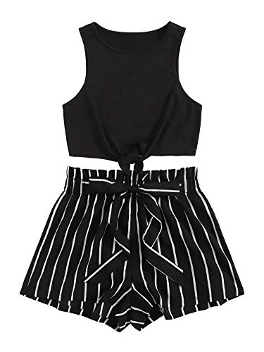 SweatyRocks Women's 2 Piece Casual Striped Print Crop Tank Top with Shorts Set Black M