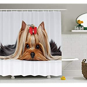 "Ambesonne Yorkie Shower Curtain, Lying Yorkshire Terrier with Ribbon Yorkie Love Portrait of a Dog, Cloth Fabric Bathroom Decor Set with Hooks, 70"" Long, Pale Caramel 25"