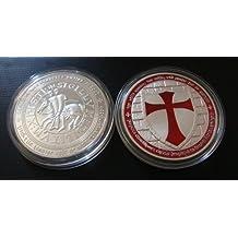 1 Ounce Knights Templar Cross Masonic Freemason Silver Coin + Case (LISTING ORIGINATION: ONLINE*COLLECTABLE*TREASURES)