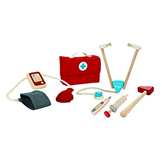 PlanToys Doctor Dr. Set with Wooden Stethoscope (3451) | Sustainably Made from Rubberwood and Non-Toxic Paints and Dyes
