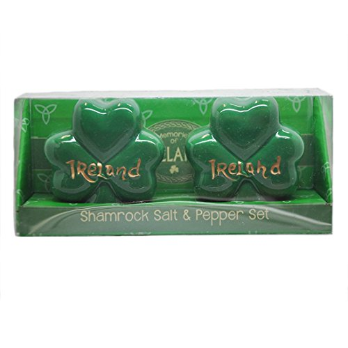 Shamrock Shaped Salt & Pepper Set With Ireland Design