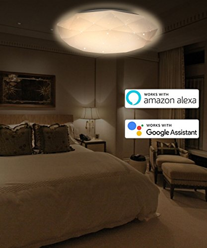 "LED Smart Ceiling Light, Gamefun Flush Mount Lighting 15"" 24W 3000-6500K Dimmable Lamp Fixture for Bedroom Living Room Balcony Corridor, Control via App Apply to Alexa Google Assistant"
