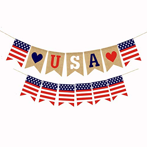 2 Pcs American Burlap Banner Independence Day Decoration White and Blue Stars Banner for 4th of July Decor ()