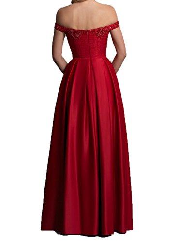 Rot Rot mit Festlichkleider Langes Dunkel Brautmutterkleider Partykleider Dunkel Satin Kurzarm Abendkleider Damen Charmant EOFynq7wZ