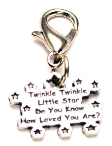 Pewter Star Charm - Chubby Chico Charms Twinkle Twinkle Little Star Do You Know How Loved You Are Pewter Charm on a Zipper Pull