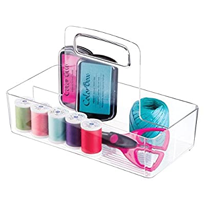 mDesign Craft and Sewing Supplies Organizer Tote with Handle for Cabinet - Divided, Clear