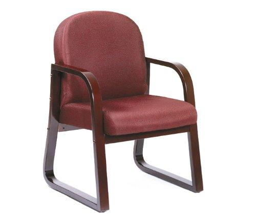 Boss Fabric Guest Chair, Burgundy Fabric/Mahogany Finish [Kitchen] # B9570-BY