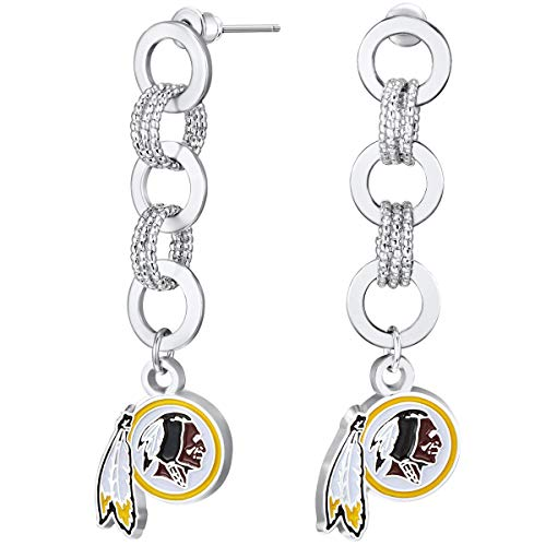 Primary Earrings Logo (Pro Specialties Group NFL Washington Redskins Circle Links Post Earrings)