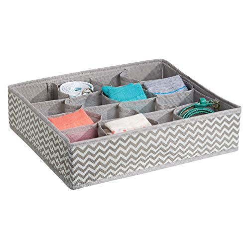 InterDesign Chevron Fabric Closet and Dresser Drawer Storage Organizer, for Underwear, Socks, Bras, Tights, Leggings 16 Compartments Taupe and Natural