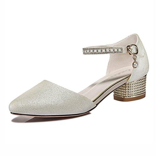 Zapatos para mujer HWF Sandalias de Verano Zapatos Femeninos Solos (Color : Blanco, Tamaño : 36) Beige