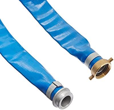 """Apache 98138015 1-1/2"""" x 50' Blue PVC Lay-Flat Discharge Hose with Aluminum Pin Lug Fittings from Apachi"""