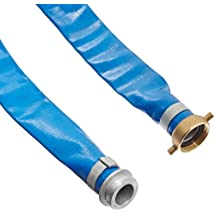 """Apache 98138015 1-1/2"""" x 50' Blue PVC Lay-Flat Discharge Hose with Aluminum Pin Lug Fittings"""