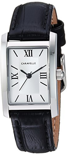 Caravelle Women's Quartz Stainless Steel and Leather Dress Watch, Color:Black (Model: (Bulova Ladies Black Dial Watch)
