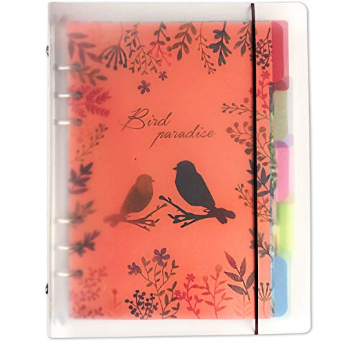 - Initial heart A5 6-Ring Loose Leaf Binder Journal Transparent Matte Color Notebook Cute (80 Insert Pages/Refillable+5 Color Index Divider Tabs+1 Clear Page Maker+1 Ziplock Pouch Included) (FlowerBird)