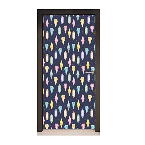 Colorful Door Sticker Graphic Gemstones with Different Shapes Trillion Drop and Marquise Cut Pattern Door Creative Decoration - Gemstone Swirl Multi