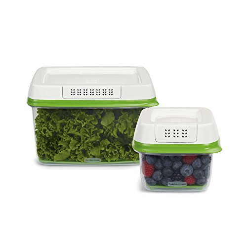 Rubbermaid FreshWorks Produce Saver Food Storage Containers, 2-Piece Set 1920521 (Vegetable Keeper)