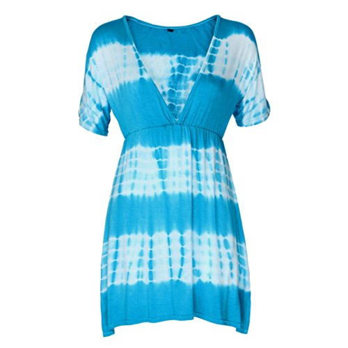 a20c5f78d43b Damen V-Ausschnitt Kleider ,TPulling Frau Mode Einfarbig Bedrucktes  V-Ausschnitt Fledermausärmel Gefärbt ...