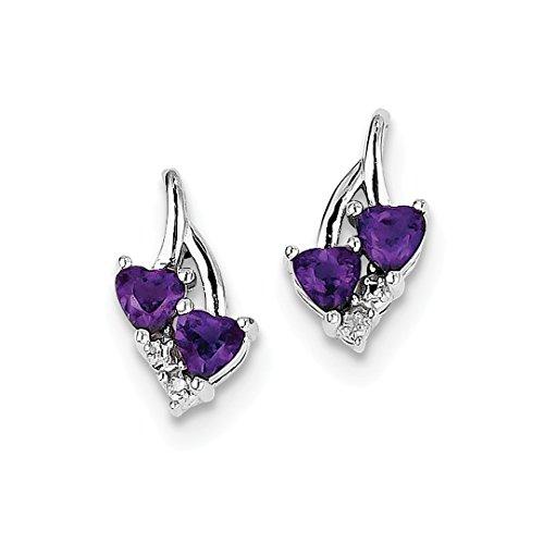 ing Silver Purple Amethyst Diamond Post Stud Earrings Drop Dangle Fine Jewelry Ideal Gifts For Women Gift Set From Heart ()