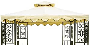DC America GOT680-BB 10-Foot by 10-Foot Gazebo Replacement Top, 2-Tier, Beige with Brown Trim