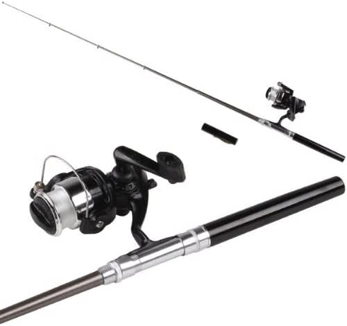 SODIAL(R) Mini Pocket Aluminum Alloy Pen Fishing Rod Pole w/ Reel