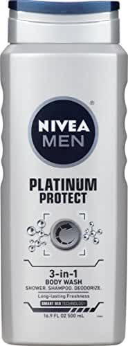 NIVEA Men Platinum Protect 3-in-1 Body Wash 16.9 Fluid Ounce