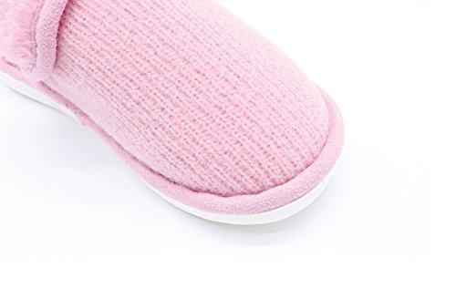 Eagsouni Femmes Hiver Pantoufles Chaudes Couples Maison En Peluche Tricot Intérieur Maison Plancher Anti-dérapant Chaussures Rose
