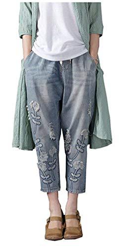 Casuales Botón Colour Huixin Mujer Vaqueros Stretch Trachtenjeans Bordados Bolsillos Aire Delanteros Libre Al Pantalones Con Para Destruidos SHqSwZ6aT