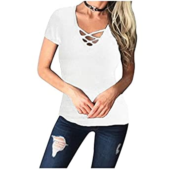 TOOGOO(R) Women Deep V Slim Stretchy Casual Solid Lace-Up T-Shirt ... 41cc4b6db