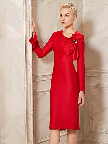 Robe Xl Dîner Mariée Bingqz Porte Rouge D'hiver De Cocktailrobe Arrière Femme Soirée Hôte Nouveau dYnUq14