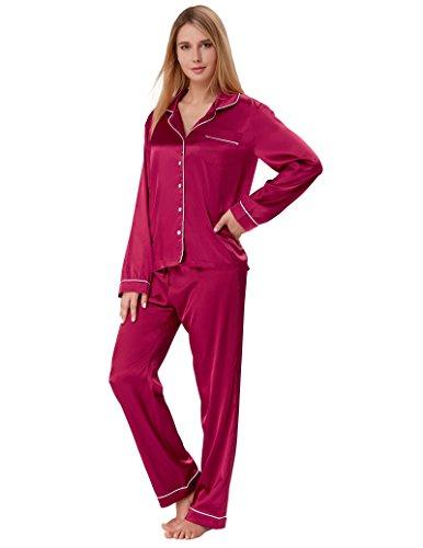 (Women Long Sleeve Silk Pajama with Elastic Waist Pants Wine Red Size L ZE52-3)
