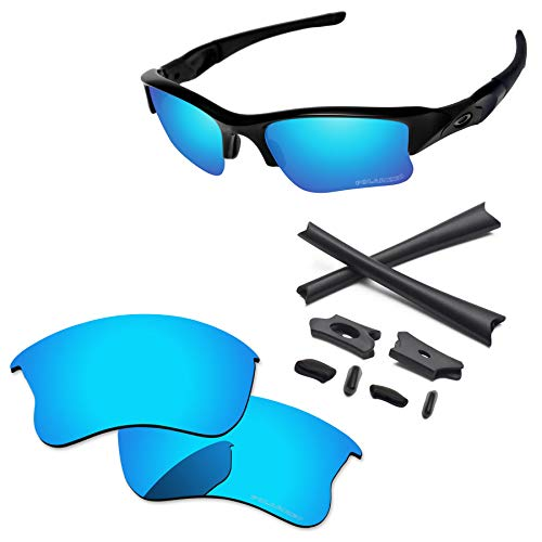 PapaViva Lenses Replacement & Rubber Kits for Oakley Flak Jacket XLJ Ice Blue - Polarized