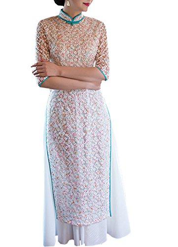 気をつけて古代予感XueXian(TM)ロング丈 花柄 チャイナドレス 半袖 チャイナ服 パーティードレス ステージ衣装 披露宴 演奏会