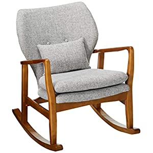 Christopher Knight Home Balen Mid Century Modern Fabric Rocking Chair (Light Grey Tweed)