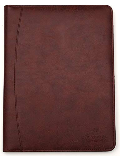 (Professional Business Padfolio/Portfolio Case Organizer Resume/Interview Folder Synthetic Leather with Refillable Letter Size Writing Pad - Brown)