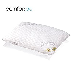 Shredded Memory Foam Pillow by Comfortac, with Washable Removable Cooling Cover Made of Rayon Derived from Bamboo - Firm & Comfortable Optimum Support, Neck Pain & Headache Relief